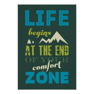 Life begins Inspirational Quote Typography Poster