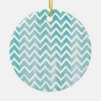 Light Blue Watercolor Chevron Pattern Double-Sided Ceramic Round Christmas Ornament
