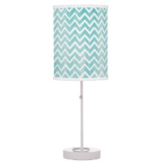 Light Blue Watercolor Chevron Pattern Table Lamps