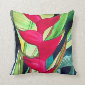 Lobster Claw Heliconia tropical flower art Throw Pillows