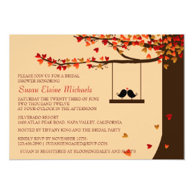 Love Birds Falling Hearts Oak Tree Bridal Shower 5x7 Paper Invitation Card