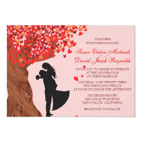 Loving Couple Initials Oak Tree Fall Wedding 5x7 Paper Invitation Card