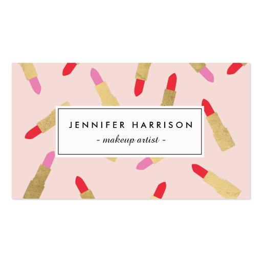 Luxe Glam Lipstick Pattern on Pink Business Card