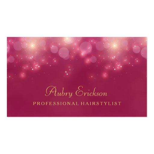 Luxury Pink Bokeh Twinkle Professional Hairstylist Business Card