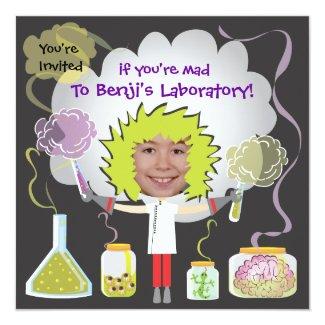 """Mad Scientist Birthday Party Invitations 5.25"""" Square Invitation Card"""