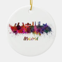 Madrid skyline in watercolor Double-Sided ceramic round christmas ornament