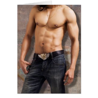 Man's Bare Chest Photograph Card