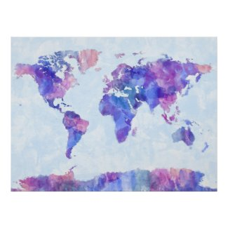 Blue purple watercolor world map poster watercolor home decor map of the world map watercolor painting poster gumiabroncs Choice Image