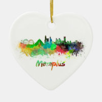 Memphis skyline in watercolor Double-Sided heart ceramic christmas ornament