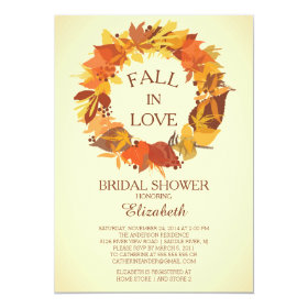 Modern Fall Autumn Wreath Bridal Shower Invitation