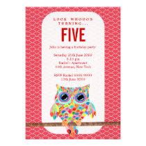 Modern Red Girls Birthday Party Rainbow Owl Invite