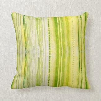 Moss-Green and yellow lines watercolor pattern Throw Pillows
