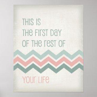 Motivational life quote art typography Chevron Posters