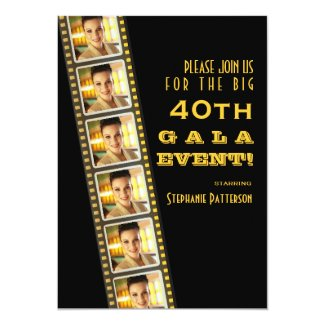 Movie Premiere Celebrity 40th Birthday Photo Gala Custom Invitation