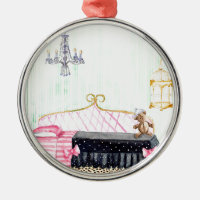 Ms. Pig E. Banks Child`s Bedroom Watercolor Art Round Metal Christmas Ornament