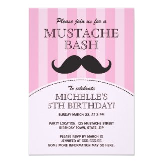 Mustache bash birthday party invitation, pink