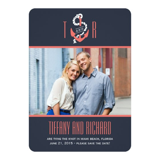 Nautical Chic Wedding Save The Date Card