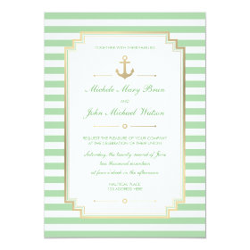 Nautical Custom Mint White Wedding Invitation