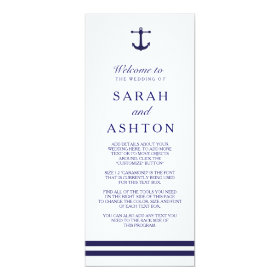 Nautical Navy Wedding Program 4x9.25 Paper Invitation Card