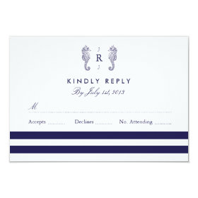 Nautical Seahorse Monogram Wedding RSVP 3.5x5 Paper Invitation Card