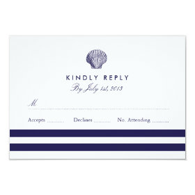 Nautical Seashell Wedding RSVP 3.5x5 Paper Invitation Card