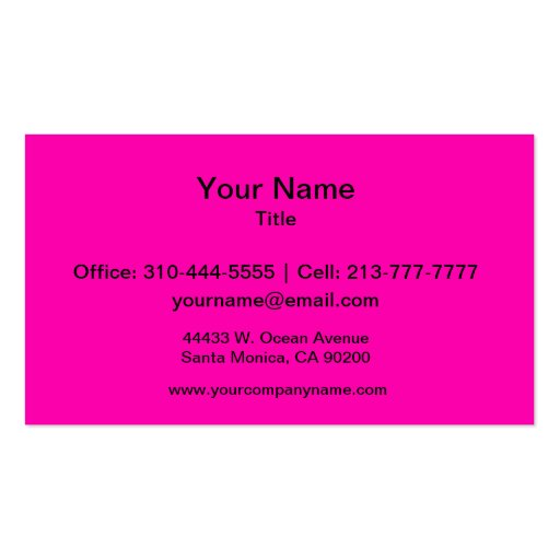 Neon Pink Solid Color Business Card