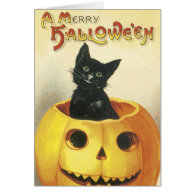 Old Fashioned Merry Halloween Cat Cards