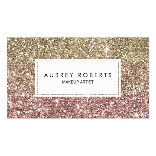 Ombre Rose Pink Gold Glitter Girly Business Cards