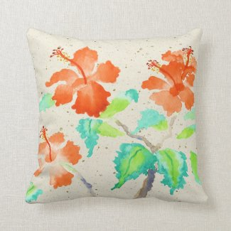 Orange Hibiscus Watercolor Painting Beige Washi
