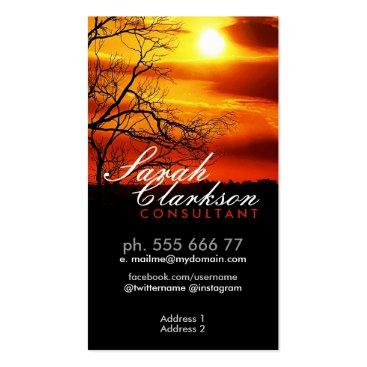 Orange Red Sunset Silhouette Business Card