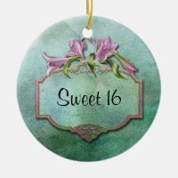 Ornment Pink Lilies Sweet 16 Double-Sided Ceramic Round Christmas Ornament