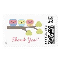 Owl Trio Thank You Postage Stamp Sticker