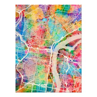Philadelphia Pennsylvania Street Map Photo Print