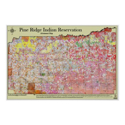 Pine Ridge Indian Reservation Allottment Map Poster