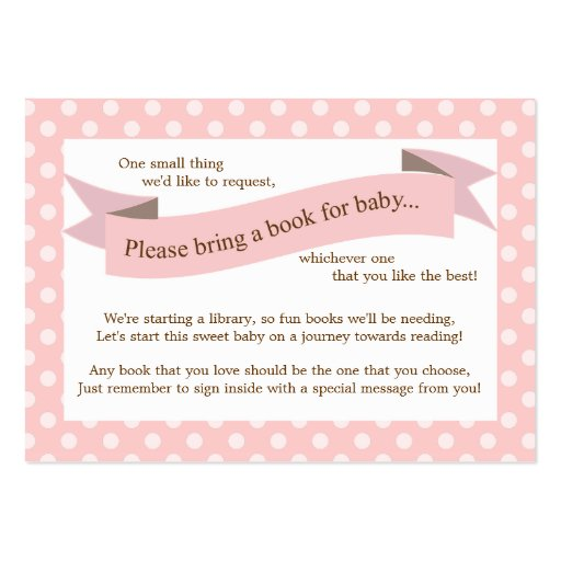 Pink Baby Shower Book Insert Request Card for Girl Large Business Card