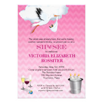 Pink Chevron Stork Baby Sip and See Party invitation