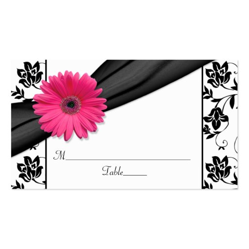 Pink Daisy Black White Floral Wedding Place Cards Business Card