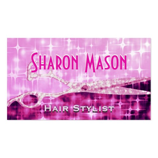 Pink Glitter Scissors Business Card