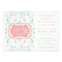 Pink Mint Green Floral Sip N See Baby Shower Invitation