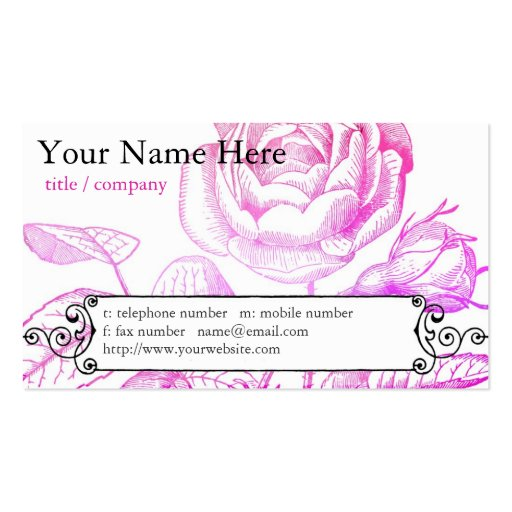 Pink Rose Profile Card Business Card