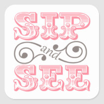 Pink Sip And See Baby Shower Envelope Seals Stickers
