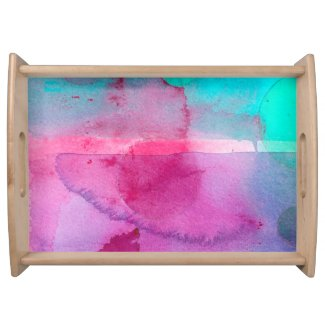 Pink Teal Purple Ombre Watercolor Food Trays