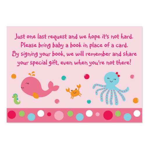 Pink Under the Sea Book Request Cards Large Business Card
