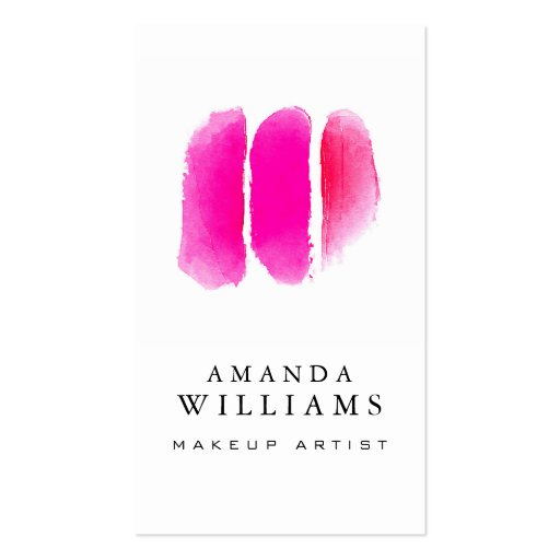 Pink Watercolor Makeup Swatches Makeup Artist Business Card
