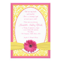 Pink Yellow Gerbera Daisy Sip N See Baby Shower Invitation