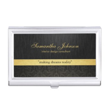 Professional Elegant Black Damask and Gold Business Card Case