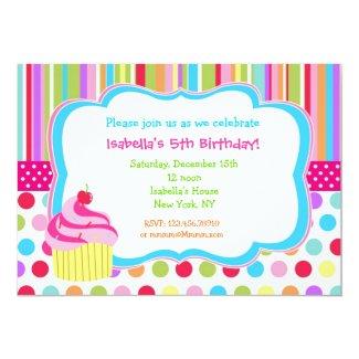 Rainbow Cupcake Birthday Party Invitations