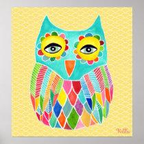 Rainbow Owl Art Girls Room Poster