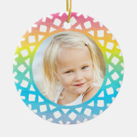 Rainbow Snowflake Personalized Photo Ornament