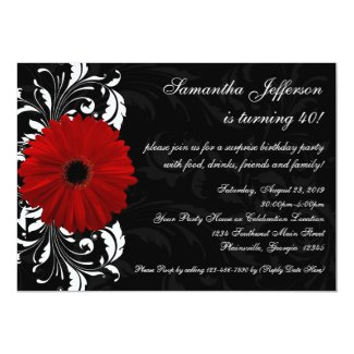 Red, Black and White Gerbera Daisy 40th Birthday Invitation